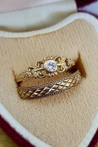 wedding rings art deco antique yellow gold
