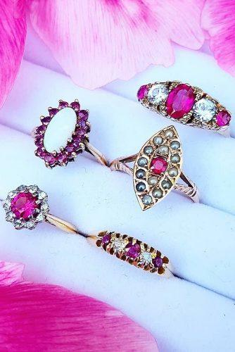 wedding rings pink gemstone antique vintage