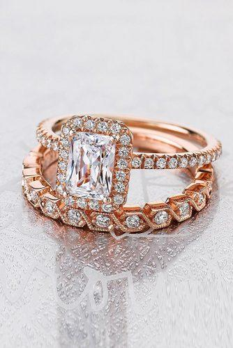 wedding rings emerald cut diamond rose gold pave band main