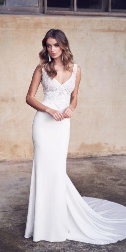 9555ce9235b4 anna campbell 2019 sheath simple fit and flare v neckline hand beaded lace  with straps wedding