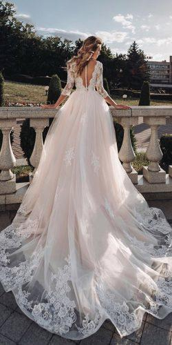 ball gown wedding dresses illusion back with three quote sleeves lace with train florence by