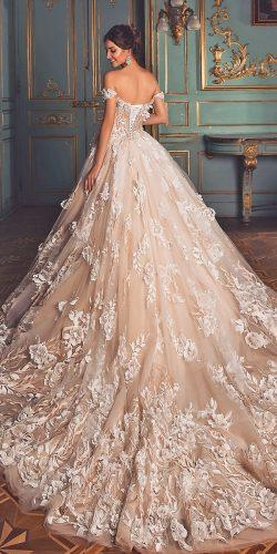 ball gown wedding dresses off the shoulder floral lace embellishment blush 2019 oksana mukha