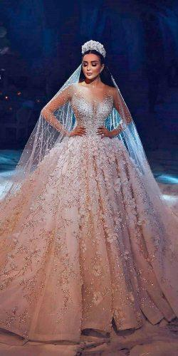 ball gown wedding dresses princess bling illusion sweetheart neck long sleeves georges hobeika