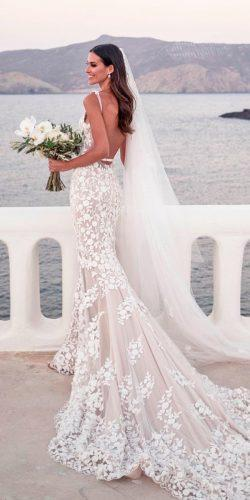 beach wedding dresses mermaid blush low back lace spaghetti straps lostinlove