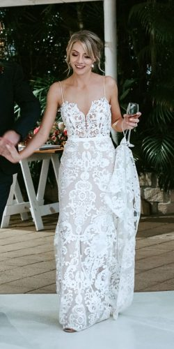beach wedding dresses sheath with spaghetti straps lace by nature