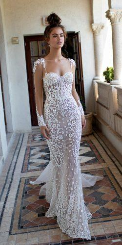 berta wedding dresses 2019 lace illusion sweetheart neckline long sleeve sheath