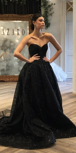 black wedding dresses a line sweetheart strapless neckline sequins lazaro bridal