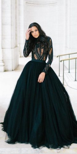 black wedding dresses ball gown with long sleeves lace top silvanatedesco couture