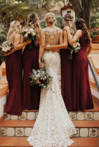 bohemian wedding theme bride and bridesmaids from back jordanvoth