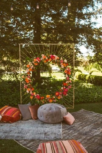 bohemian wedding theme ceremony backdrop Heidi Uhlman