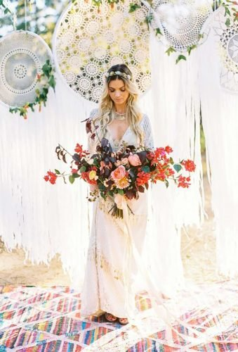 bohemian wedding theme dreamcatcher backdrop Danielle Poff Photography