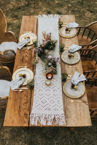 bohemian wedding theme macrame table decor Gallivan Photo