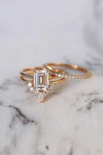 bridal sets emerald cut diamond solitaire modern unique