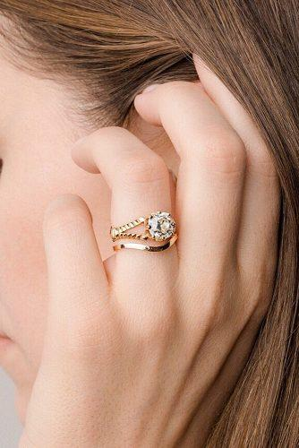 bridal sets modern yellow gold round cut diamond