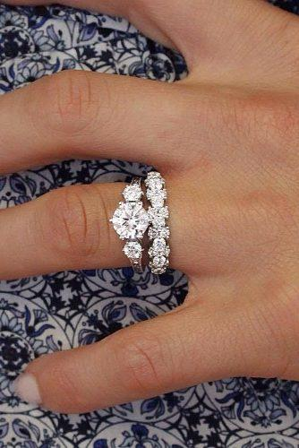 bridal sets three stones diamond gold round cut