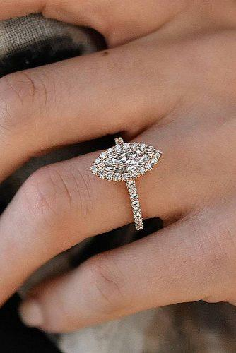 engagement ring marquise cut halo rose gold pave band