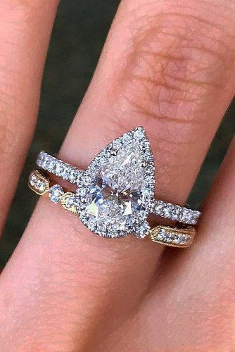 engagement ring pave band gold pear cut halo diamond