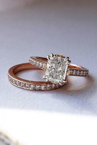 engagement ring radiant cut rose gold pave band solitaire set