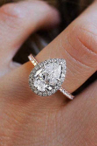 engagement ring rose gold pear cut halo diamond