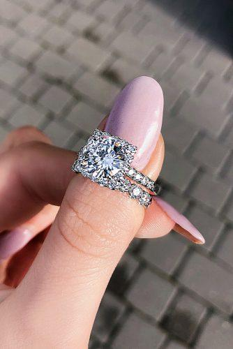 engagement ring round cut halo wedding set pave band