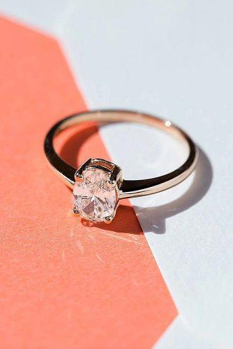 engagement ring simple oval cut diamond rose gold
