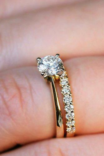 engagement ring simple yellow gold wedding set diamond solitaire