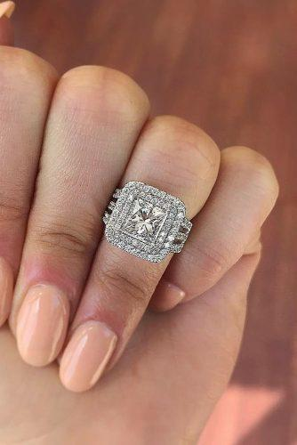 engagement ring trends 2019 princess cut diamond double halo pave band split