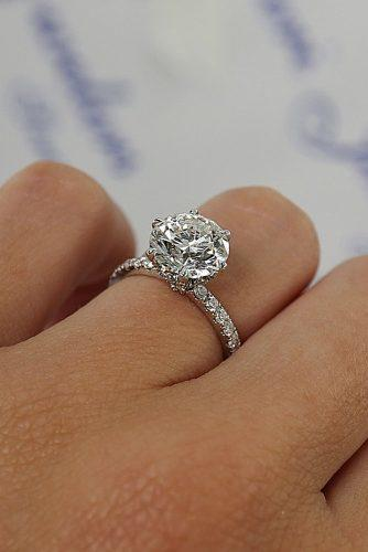 engagement ring trends 2019 round cut solitaire diamond pave band