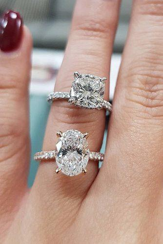 engagement ring trends 2019 solitaire diamond cushion cut oval cut pave band