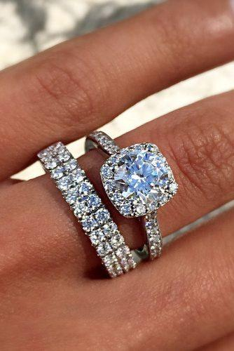engagement ring wedding set halo round cut pave band diamond