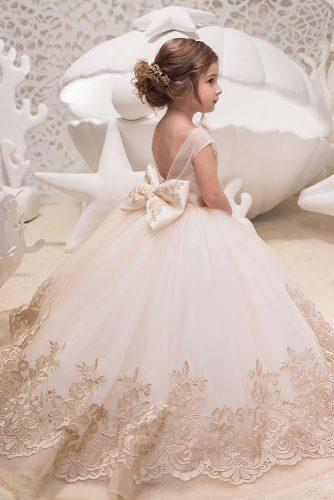 flower girl dresses lace with bow v back kingdom boutique