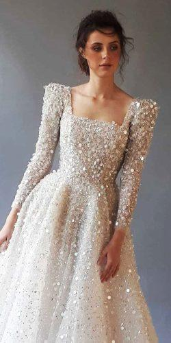 long sleeve wedding dresses a line square neckline sequins chana marelus