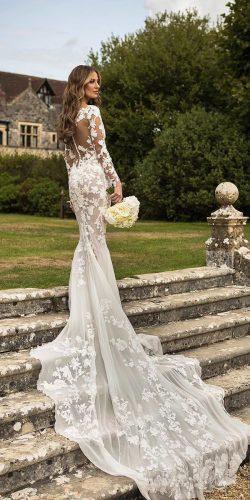 long sleeve wedding dresses mermaid illusion back floral with train pronovias