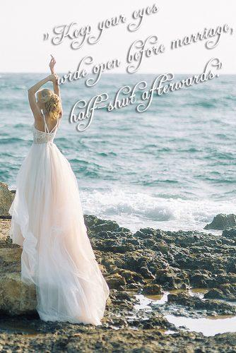marriage quotes by famous people bride at the beach near sea