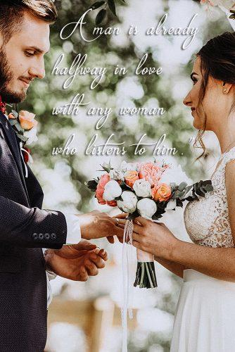 marriage quotes romantic quotes newlyweds looking at each other