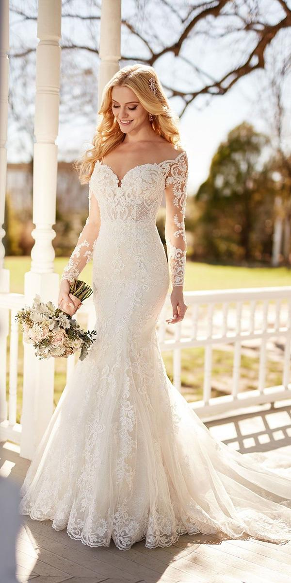 mermaid wedding dresses off the shoulder sleeves lace sweetheart martina liana