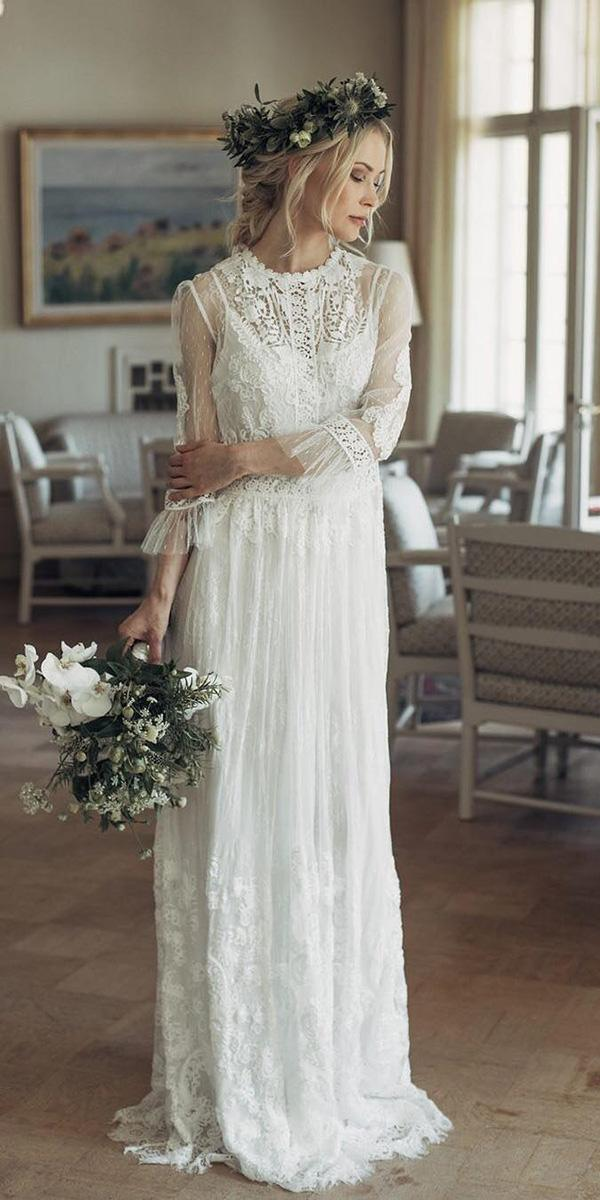 modest wedding dresses boho a line with sleeves lace pronovias