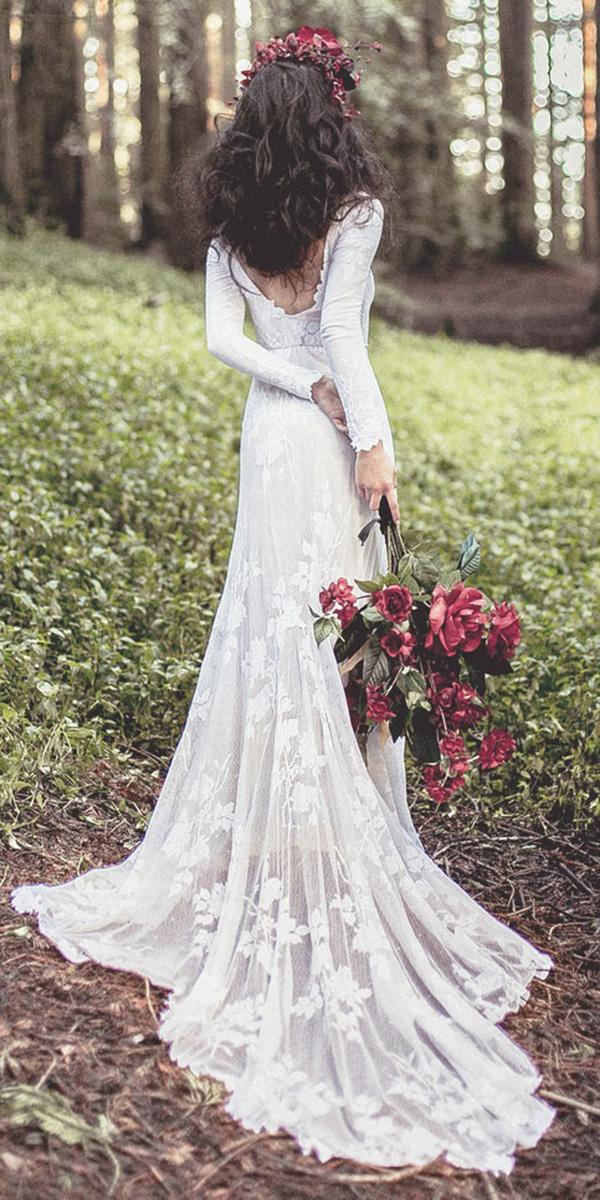 modest wedding dresses sheath with long sleeves country wear your lovexo