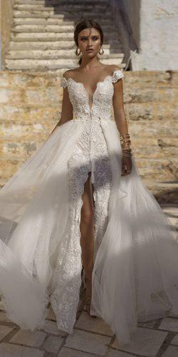 off the shoulder wedding dresses sheath sweetheart lace with overskirt lian rokman