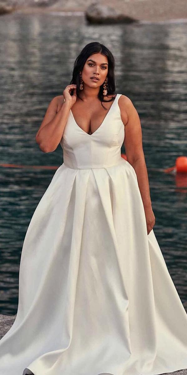 plus size wedding dresses a line simple v neckline chosenby one day
