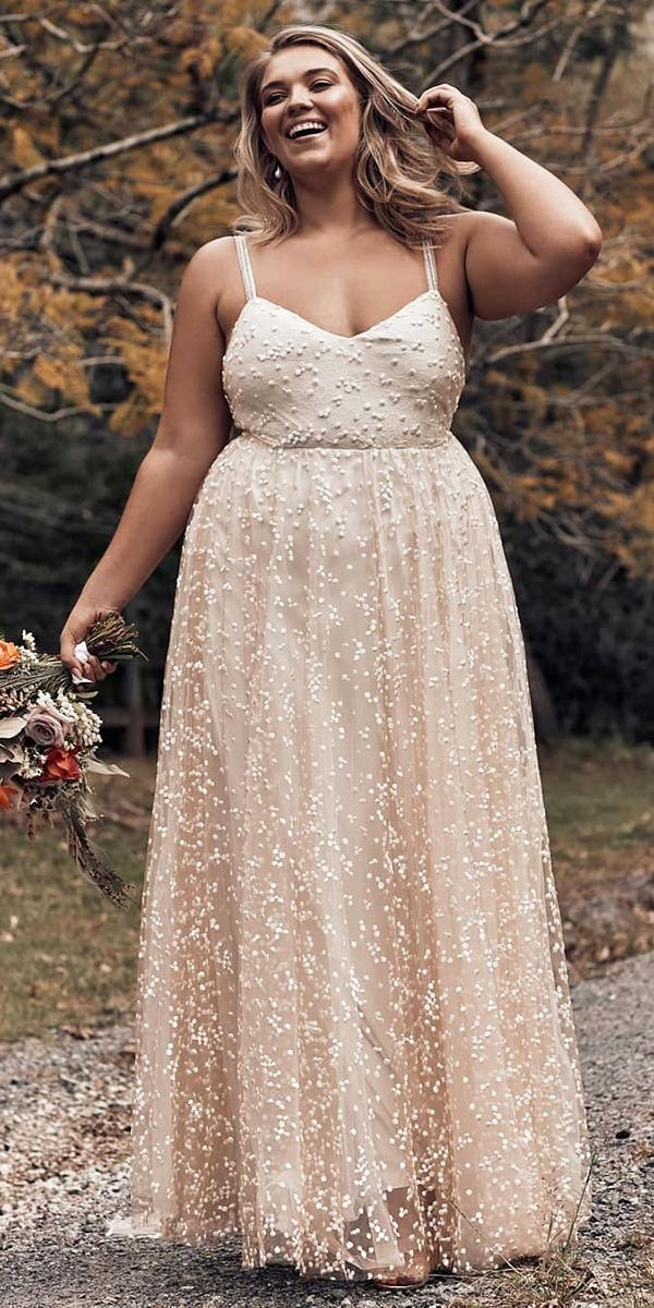 plus size wedding dresses a line with straps blush romantic grace loves lace