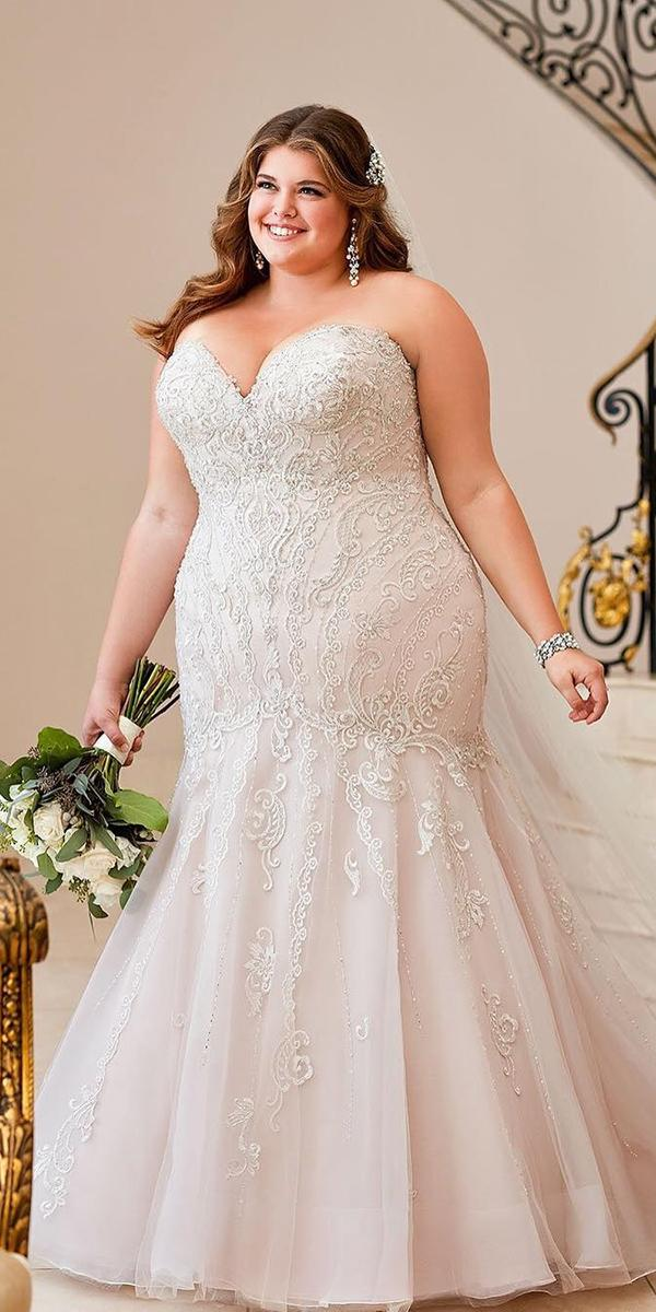 plus size wedding dresses mermaid sweetheart strapless blush lace miss stella york