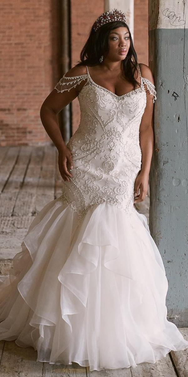 plus size wedding dresses mermaid with spaghetti straps sweetheart- maggie sottero