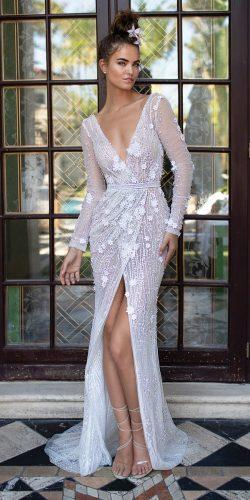 sheath v neckline long sleeve high slit vintage berta wedding dresses 2019