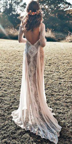 straight lace low back bohemian long sleeve beach wedding dresses grace loves lace