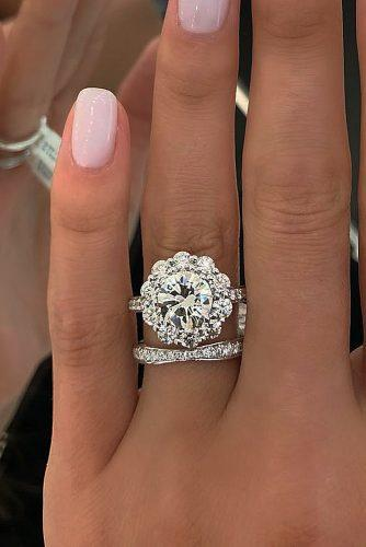 top engagement ring ideas halo diamond round cut engagement rings set floral