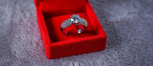 top engagement ring ideas red box round cut diamond white gold