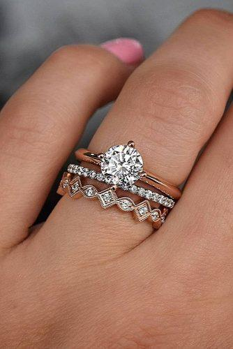 top engagement ring ideas simple bands solitaire round cut diamond rose gold