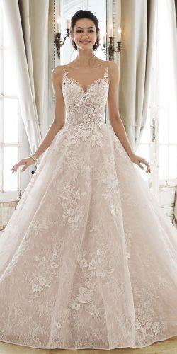 wedding dresses 2019 a line illusion neckline lace blush sophia tolli