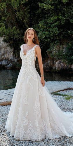 wedding dresses 2019 a line v neckline lace with train eddy k